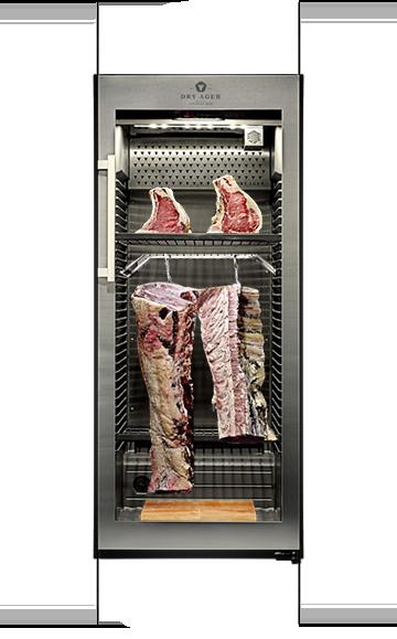 Dry Ager mit ganzen Rücken und Fleisch- Teilstücken kombiniert
