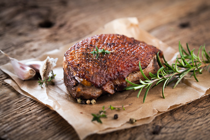 Goose breast cooked tender in the Dutch Oven
