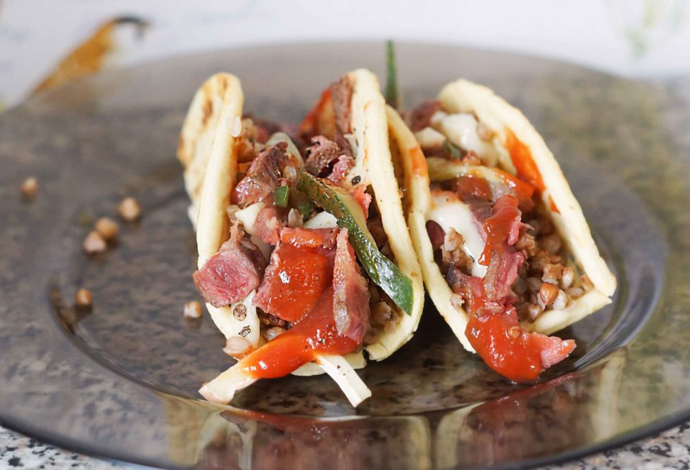 Dry Aged Beef Tacos with Cucumber and Buckwheat