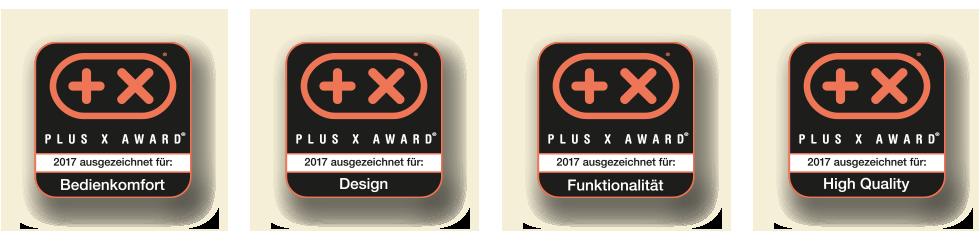 PLUS X AWARD Siegel der vier Kategorien
